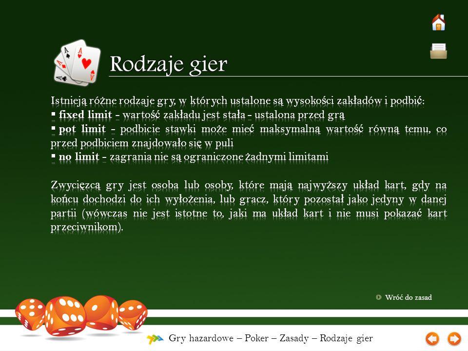 Gry hazardowe – Poker – Zasady – Rodzaje gier Wró ć do zasad
