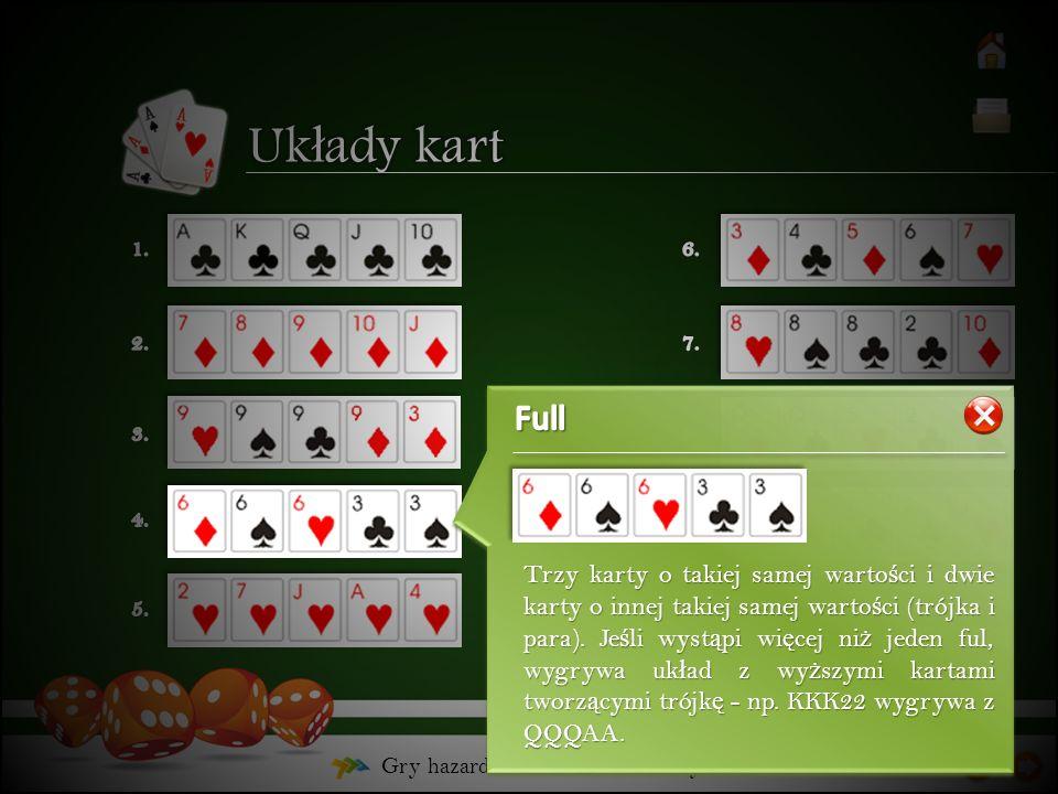 Gry hazardowe – Poker – Uk ł ady kart Trzy karty o takiej samej warto ś ci i dwie karty o innej takiej samej warto ś ci (trójka i para). Je ś li wyst