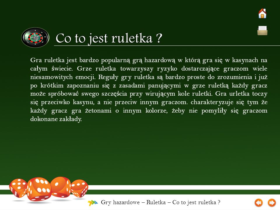 Gry hazardowe – Ruletka – Co to jest ruletka ? Gra ruletka jest bardzo popularn ą gr ą hazardow ą w któr ą gra si ę w kasynach na ca ł ym ś wiecie. Gr