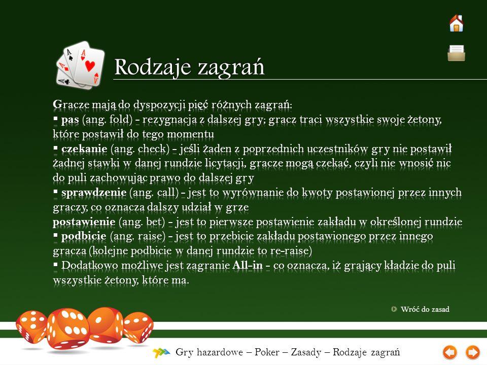 Gry hazardowe – Poker – Zasady – Rodzaje zagra ń Wró ć do zasad