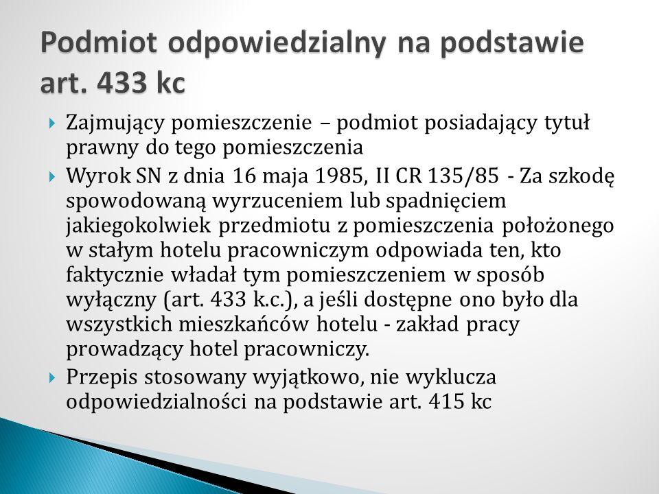  Zajmujący pomieszczenie – podmiot posiadający tytuł prawny do tego pomieszczenia  Wyrok SN z dnia 16 maja 1985, II CR 135/85 - Za szkodę spowodowan