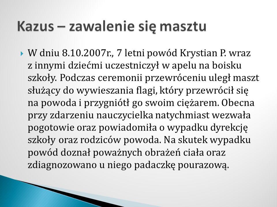  W dniu 8.10.2007r., 7 letni powód Krystian P.