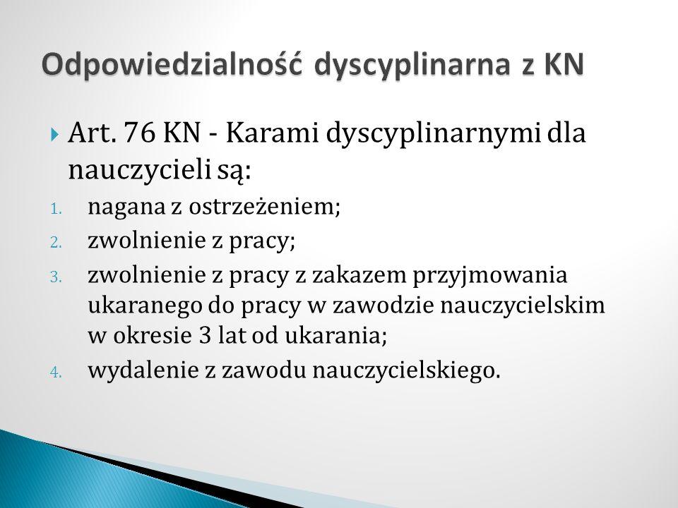  Art. 76 KN - Karami dyscyplinarnymi dla nauczycieli są: 1.