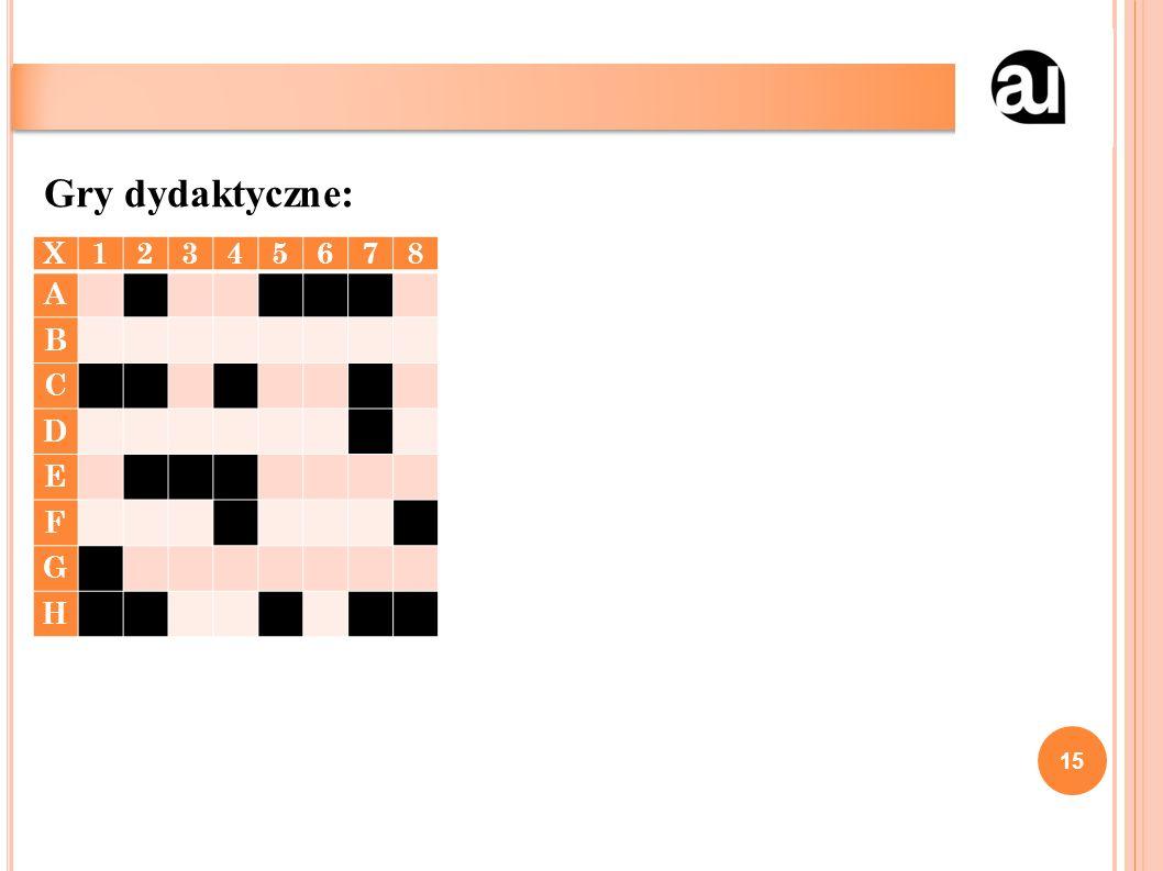 15 Gry dydaktyczne: X12345678 A B C D E F G H