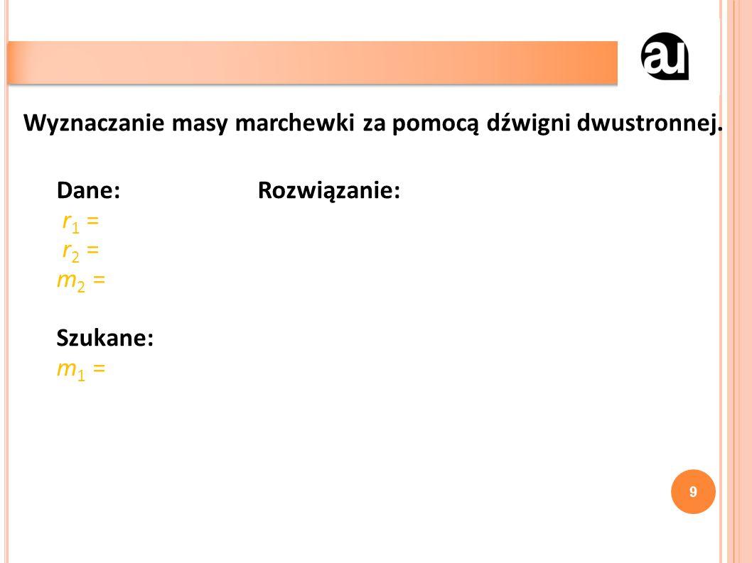 9 Wyznaczanie masy marchewki za pomocą dźwigni dwustronnej.