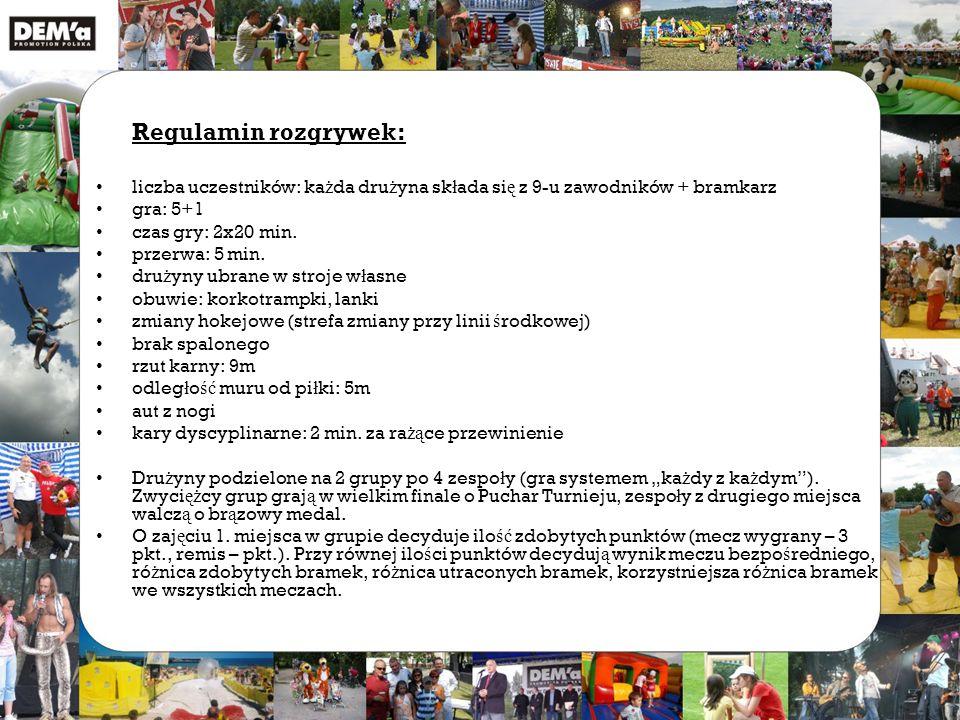 Regulamin rozgrywek: liczba uczestników: ka ż da dru ż yna sk ł ada si ę z 9-u zawodników + bramkarz gra: 5+1 czas gry: 2x20 min.