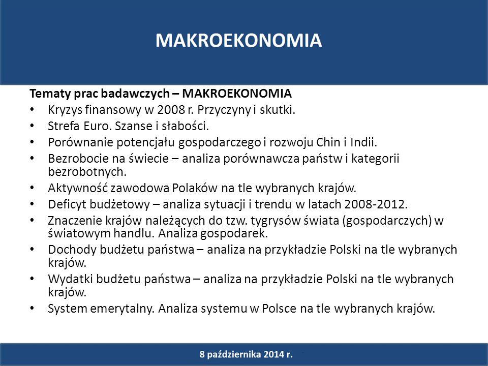 Tematy prac badawczych – MAKROEKONOMIA Kryzys finansowy w 2008 r.