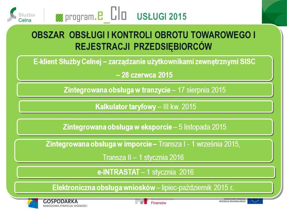 USŁUGI 2015 OBSZAR OBSŁUGI I KONTROLI OBROTU TOWAROWEGO I REJESTRACJI PRZEDSIĘBIORCÓW Zintegrowana obsługa w tranzycie – 17 sierpnia 2015 Zintegrowana