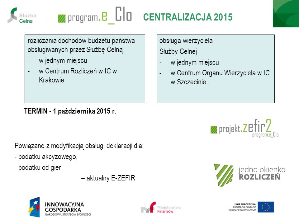 rozliczania dochodów budżetu państwa obsługiwanych przez Służbę Celną -w jednym miejscu -w Centrum Rozliczeń w IC w Krakowie CENTRALIZACJA 2015 TERMIN