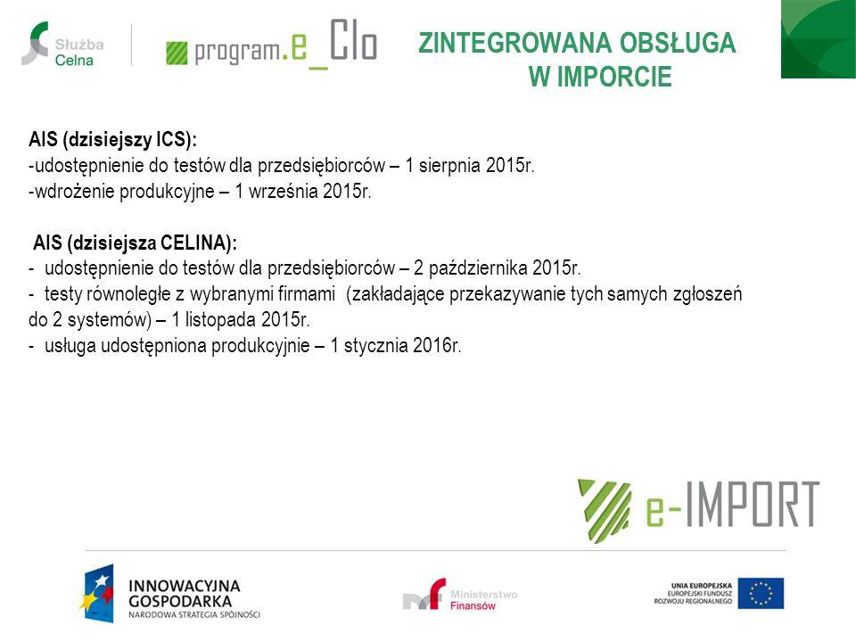 AIS (dzisiejszy ICS): -udostępnienie do testów dla przedsiębiorców – 1 sierpnia 2015r. -wdrożenie produkcyjne – 1 września 2015r. AIS (dzisiejsza CELI