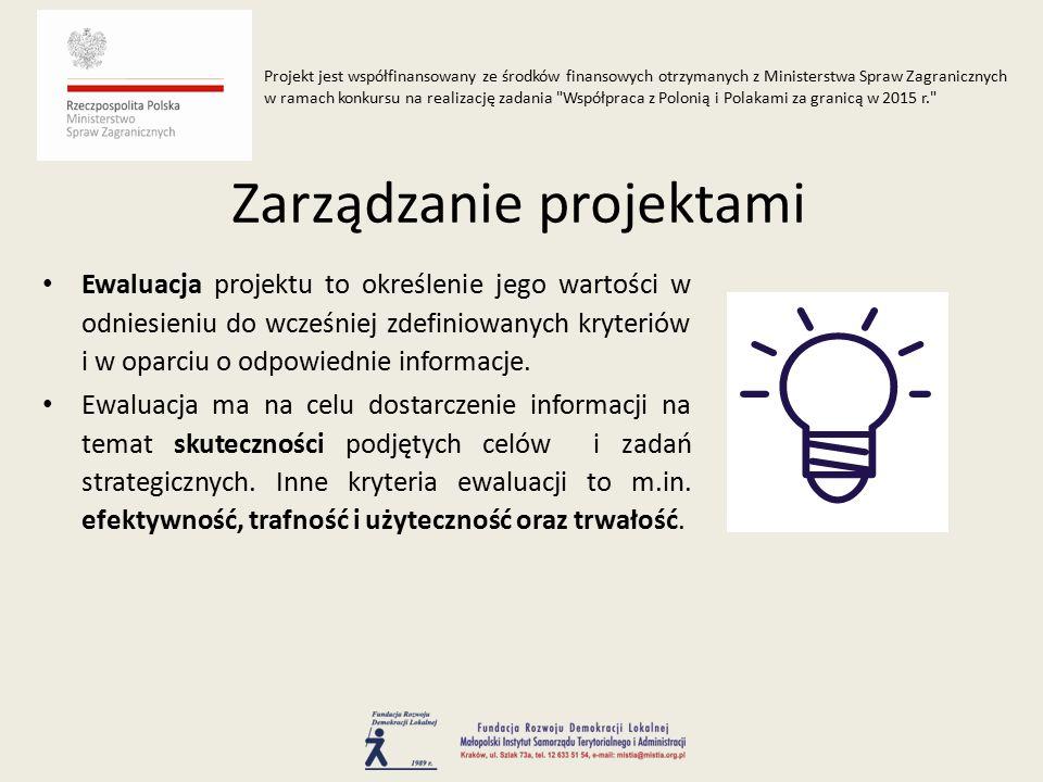 Ewaluacja projektu to określenie jego wartości w odniesieniu do wcześniej zdefiniowanych kryteriów i w oparciu o odpowiednie informacje.