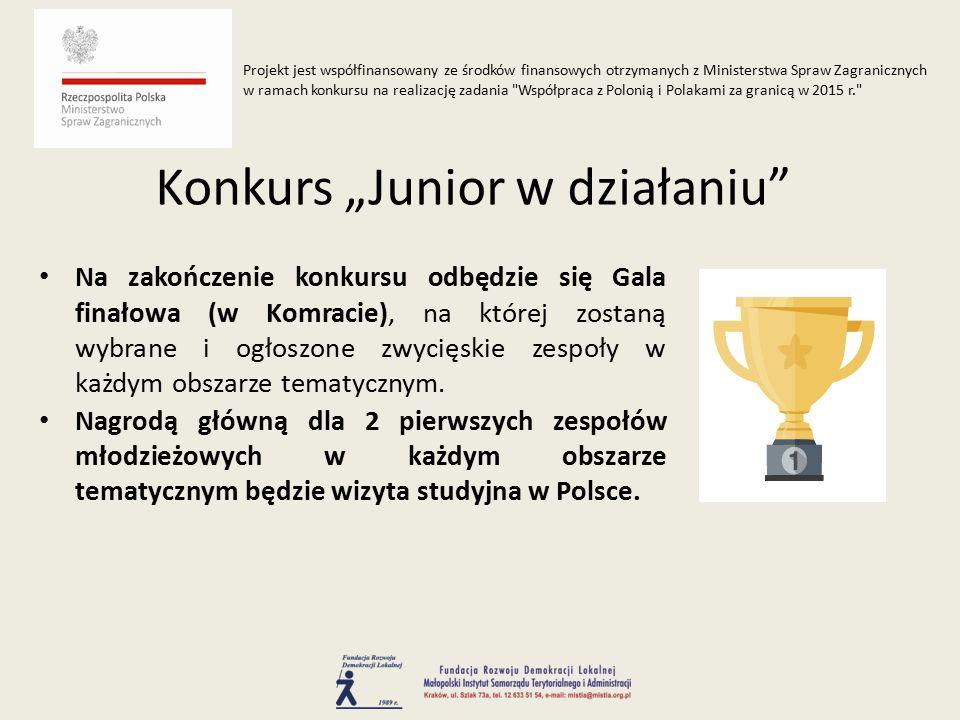 Na zakończenie konkursu odbędzie się Gala finałowa (w Komracie), na której zostaną wybrane i ogłoszone zwycięskie zespoły w każdym obszarze tematycznym.