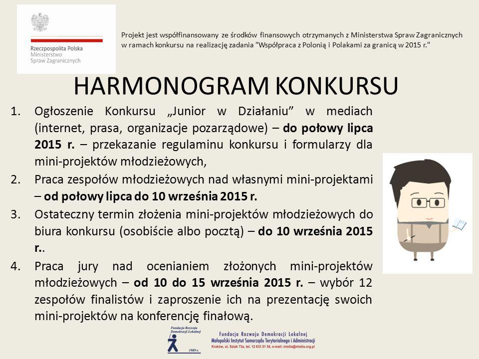 """1.Ogłoszenie Konkursu """"Junior w Działaniu w mediach (internet, prasa, organizacje pozarządowe) – do połowy lipca 2015 r."""