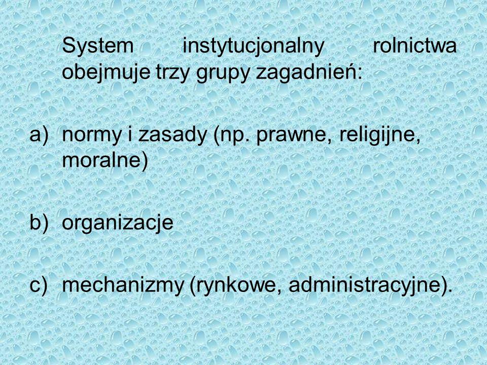 System instytucjonalny rolnictwa obejmuje trzy grupy zagadnień: a)normy i zasady (np.