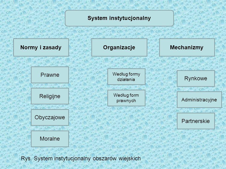 System instytucjonalny Normy i zasadyOrganizacjeMechanizmy Prawne Religijne Obyczajowe Moralne Według formy działania Według form prawnych Rynkowe Adm