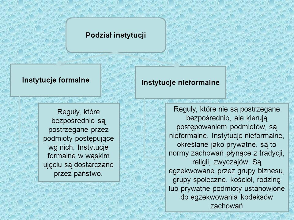 Podział instytucji Instytucje formalne Instytucje nieformalne Reguły, które bezpośrednio są postrzegane przez podmioty postępujące wg nich. Instytucje