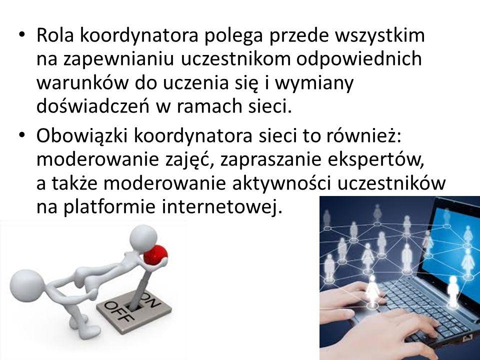 Rola koordynatora polega przede wszystkim na zapewnianiu uczestnikom odpowiednich warunków do uczenia się i wymiany doświadczeń w ramach sieci.