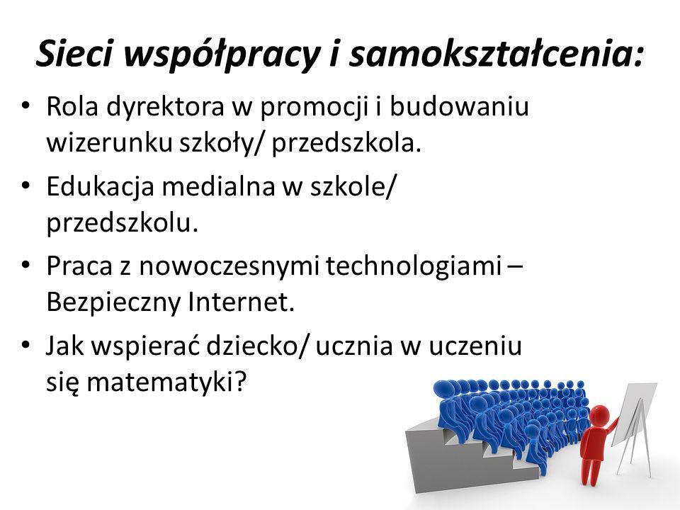 Sieci współpracy i samokształcenia: Rola dyrektora w promocji i budowaniu wizerunku szkoły/ przedszkola.