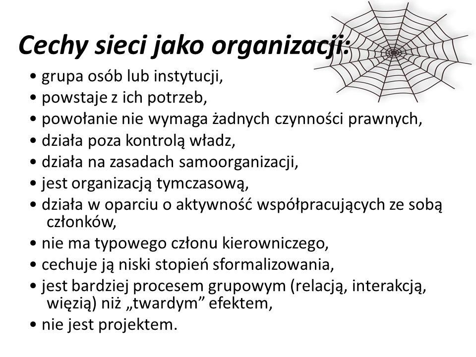 """Cechy sieci jako organizacji: grupa osób lub instytucji, powstaje z ich potrzeb, powołanie nie wymaga żadnych czynności prawnych, działa poza kontrolą władz, działa na zasadach samoorganizacji, jest organizacją tymczasową, działa w oparciu o aktywność współpracujących ze sobą członków, nie ma typowego członu kierowniczego, cechuje ją niski stopień sformalizowania, jest bardziej procesem grupowym (relacją, interakcją, więzią) niż """"twardym efektem, nie jest projektem."""