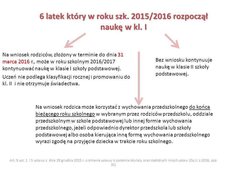 6 latek który w roku szk. 2015/2016 rozpoczął naukę w kl.