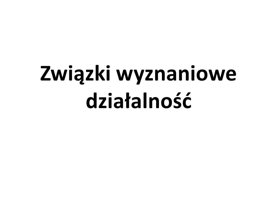 Związki wyznaniowe – działalność Zakres: 1.Działalność kultowo-religijna 2.