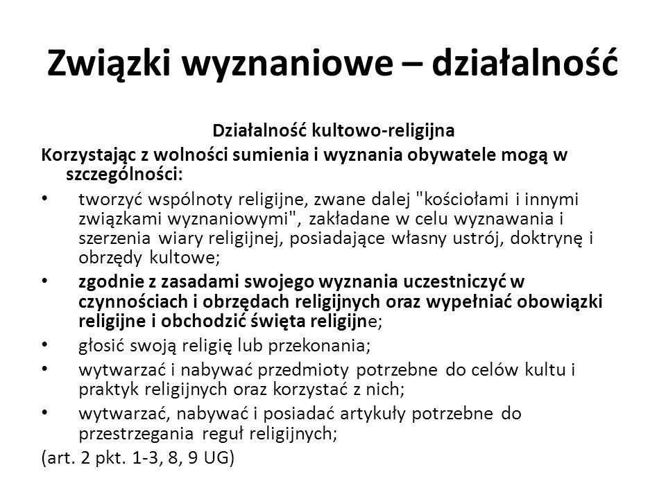 Związki wyznaniowe – działalność Cmentarze wyznaniowe USTAWA z dnia 31 stycznia 1959 r.