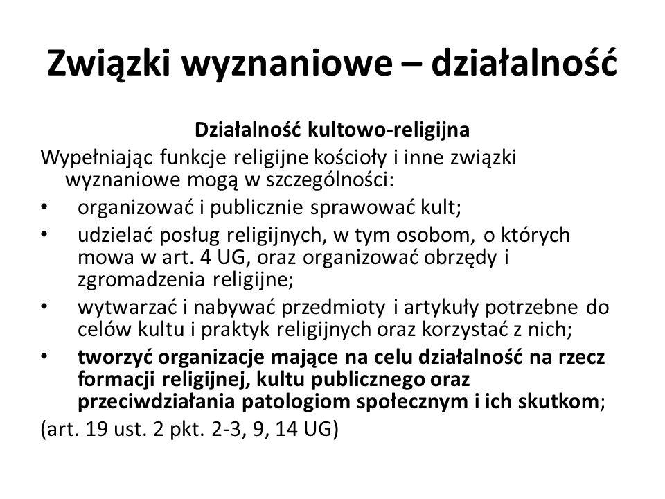 Związki wyznaniowe – działalność Działalność kultowo-religijna Prawo określone w art.