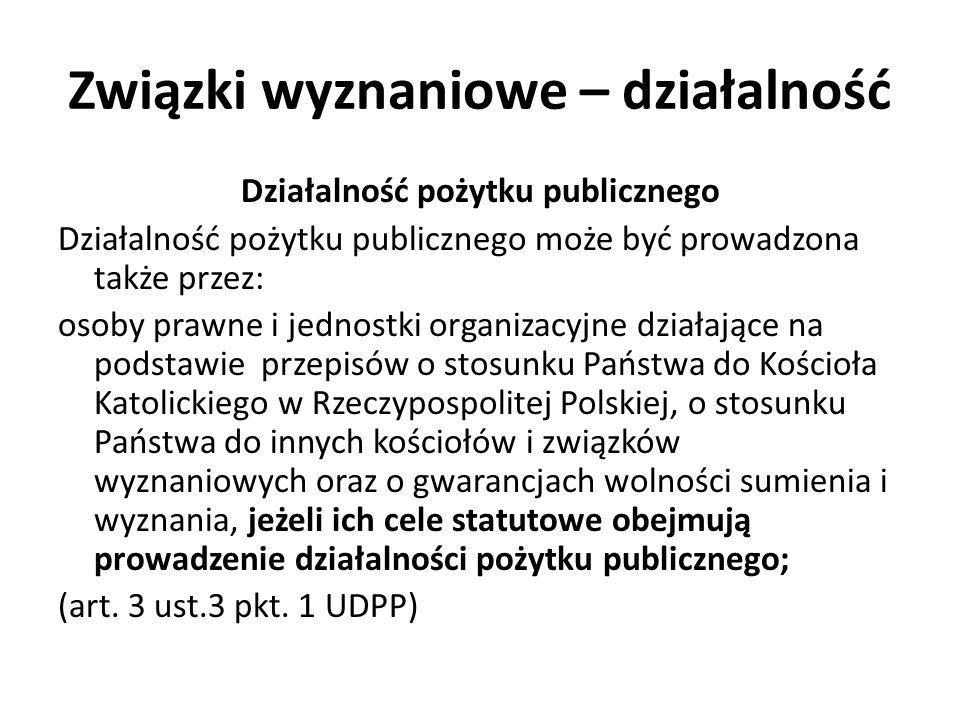Związki wyznaniowe – działalność Działalność pożytku publicznego Działalność pożytku publicznego może być prowadzona także przez: osoby prawne i jednostki organizacyjne działające na podstawie przepisów o stosunku Państwa do Kościoła Katolickiego w Rzeczypospolitej Polskiej, o stosunku Państwa do innych kościołów i związków wyznaniowych oraz o gwarancjach wolności sumienia i wyznania, jeżeli ich cele statutowe obejmują prowadzenie działalności pożytku publicznego; (art.