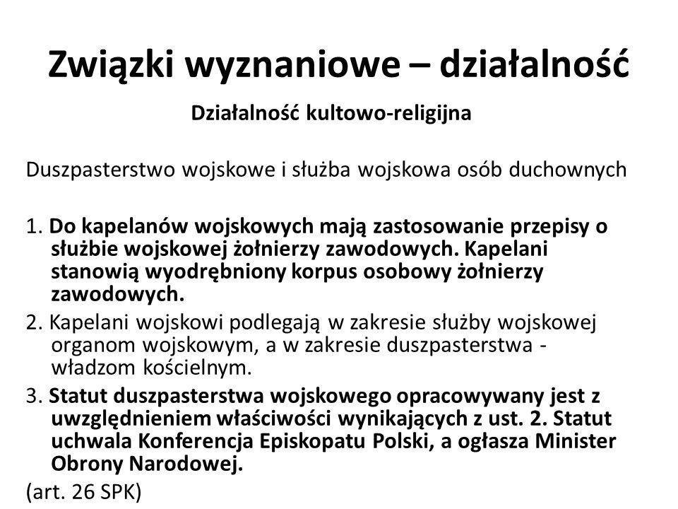 Związki wyznaniowe – działalność Małżeństwo wyznaniowe i jego skutki cywilne 1.