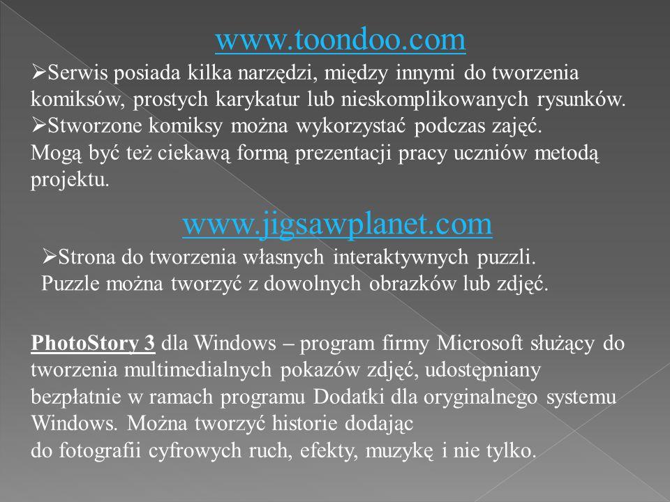 www.toondoo.com  Serwis posiada kilka narzędzi, między innymi do tworzenia komiksów, prostych karykatur lub nieskomplikowanych rysunków.