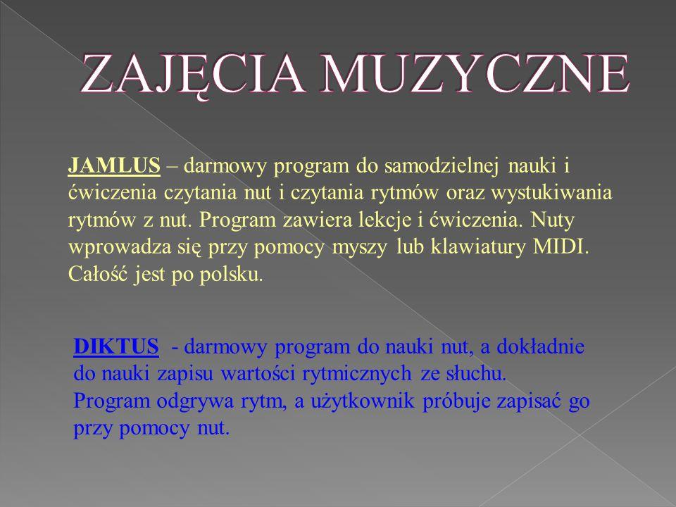 JAMLUS – darmowy program do samodzielnej nauki i ćwiczenia czytania nut i czytania rytmów oraz wystukiwania rytmów z nut.