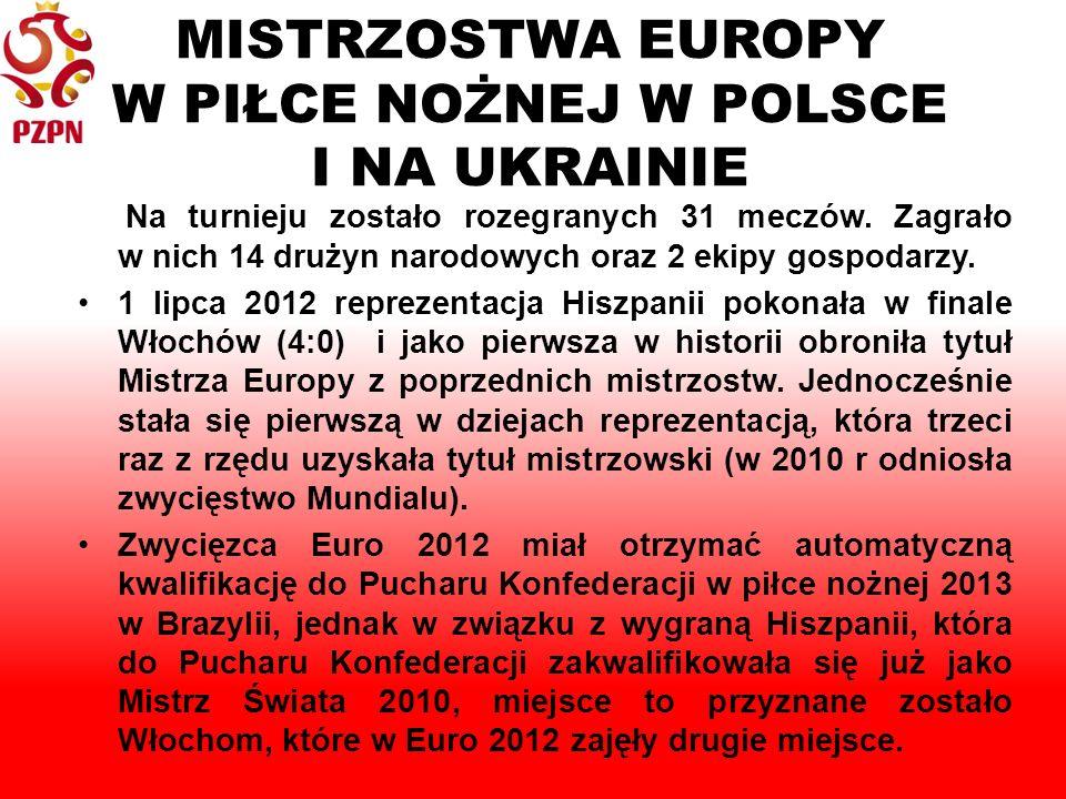 MISTRZOSTWA EUROPY W PIŁCE NOŻNEJ W POLSCE I NA UKRAINIE Na turnieju zostało rozegranych 31 meczów.