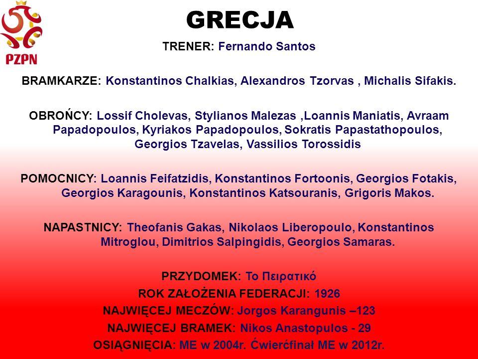 GRECJA TRENER: Fernando Santos BRAMKARZE: Konstantinos Chalkias, Alexandros Tzorvas, Michalis Sifakis.