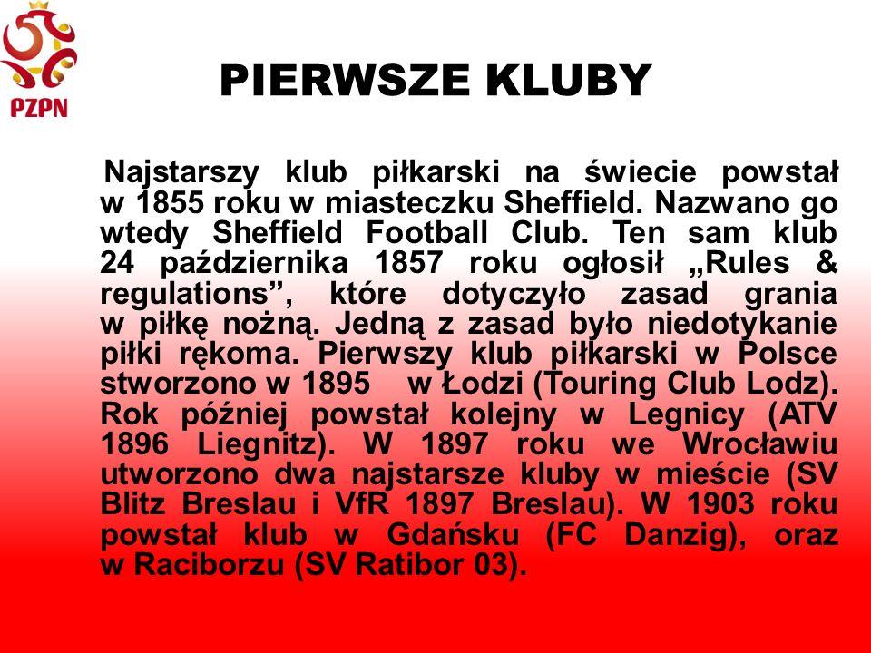 PIERWSZE KLUBY Najstarszy klub piłkarski na świecie powstał w 1855 roku w miasteczku Sheffield.