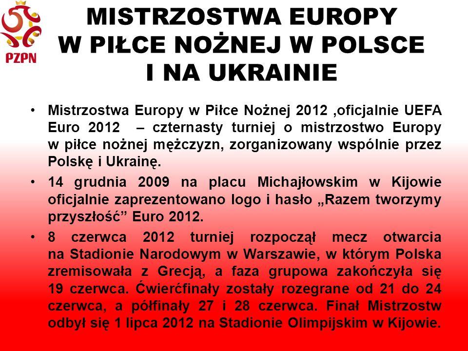 MISTRZOSTWA EUROPY W PIŁCE NOŻNEJ W POLSCE I NA UKRAINIE Mistrzostwa Europy w Piłce Nożnej 2012,oficjalnie UEFA Euro 2012 – czternasty turniej o mistrzostwo Europy w piłce nożnej mężczyzn, zorganizowany wspólnie przez Polskę i Ukrainę.