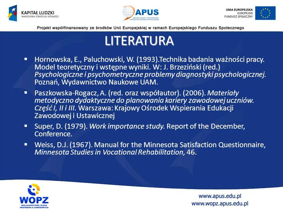 LITERATURA  Hornowska, E., Paluchowski, W. (1993).Technika badania ważności pracy.