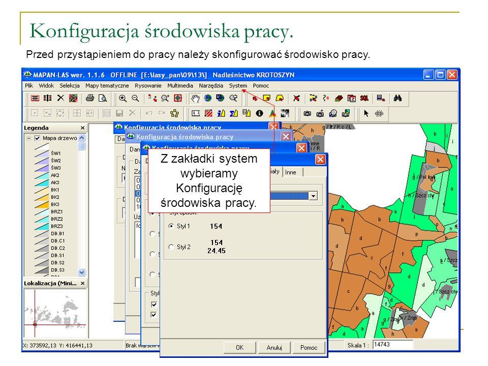 Konfiguracja środowiska pracy. Z zakładki system wybieramy Konfigurację środowiska pracy.