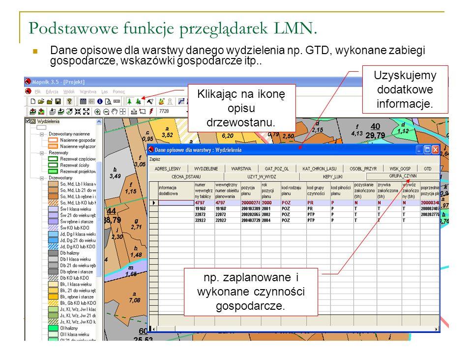 Podstawowe funkcje przeglądarek LMN. Dane opisowe dla warstwy danego wydzielenia np.
