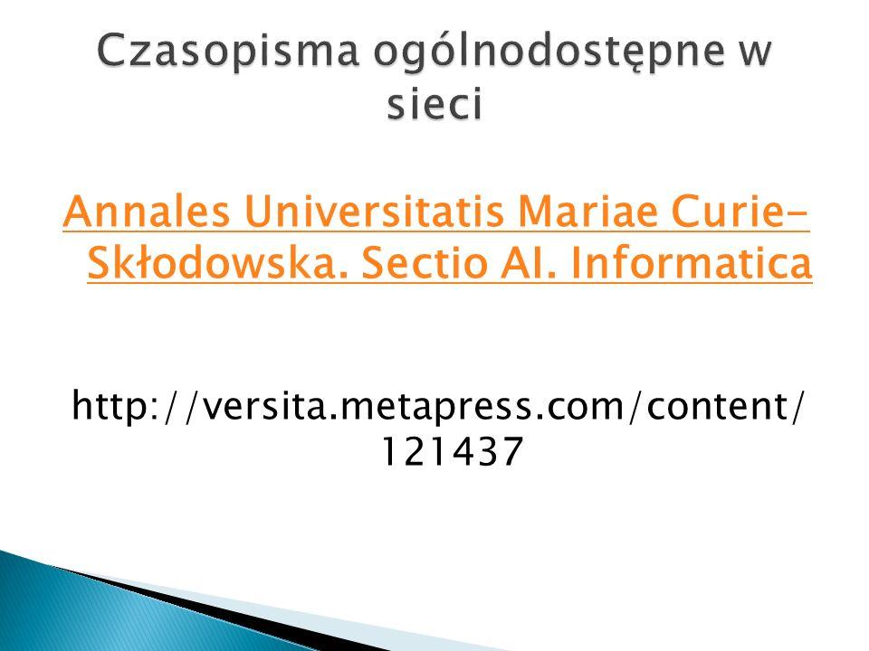 Annales Universitatis Mariae Curie- Skłodowska. Sectio AI. Informatica http://versita.metapress.com/content/ 121437