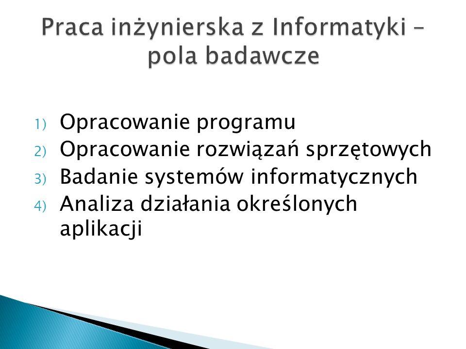 1) Opracowanie programu 2) Opracowanie rozwiązań sprzętowych 3) Badanie systemów informatycznych 4) Analiza działania określonych aplikacji