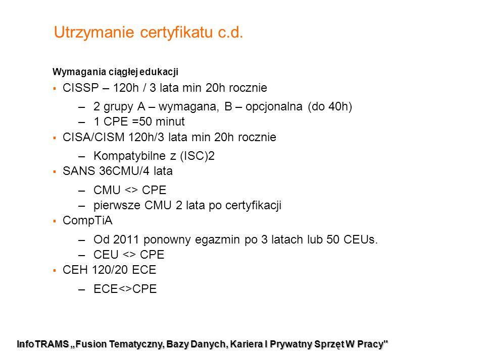 """14 InfoTRAMS """"Fusion Tematyczny, Bazy Danych, Kariera I Prywatny Sprzęt W Pracy Utrzymanie certyfikatu c.d."""