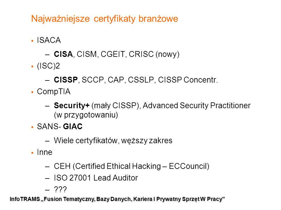 """3 InfoTRAMS """"Fusion Tematyczny, Bazy Danych, Kariera I Prywatny Sprzęt W Pracy Najważniejsze certyfikaty branżowe  ISACA –CISA, CISM, CGEIT, CRISC (nowy)  (ISC)2 –CISSP, SCCP, CAP, CSSLP, CISSP Concentr."""