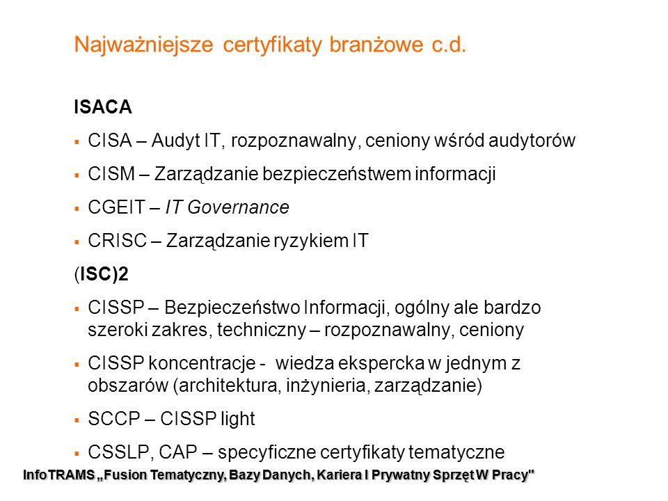 """5 InfoTRAMS """"Fusion Tematyczny, Bazy Danych, Kariera I Prywatny Sprzęt W Pracy Najważniejsze certyfikaty branżowe c.d."""