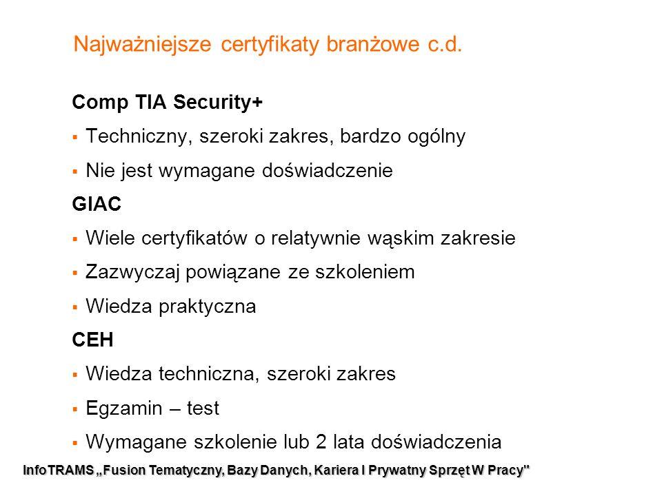 6 Najważniejsze certyfikaty branżowe c.d.