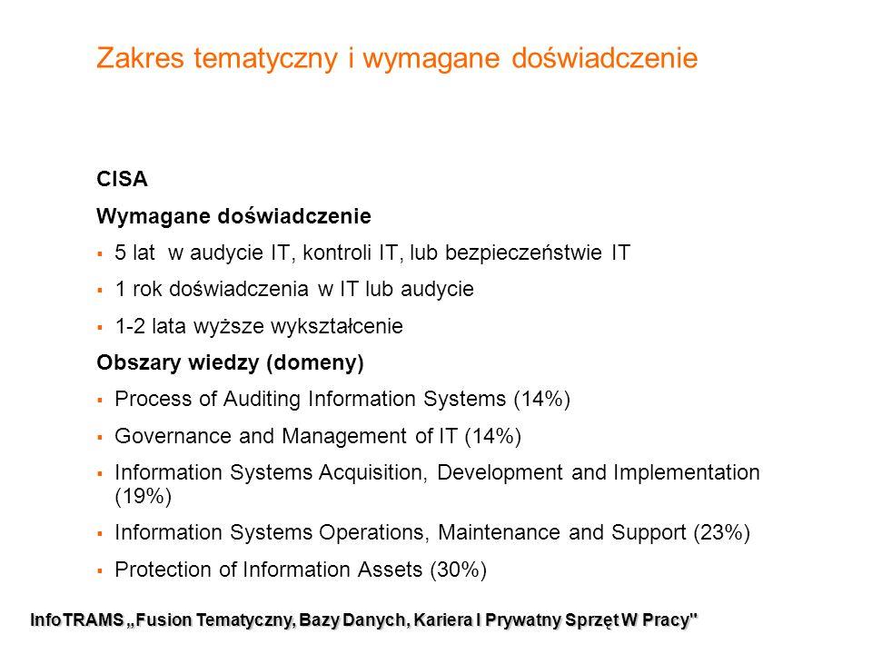 """7 InfoTRAMS """"Fusion Tematyczny, Bazy Danych, Kariera I Prywatny Sprzęt W Pracy Zakres tematyczny i wymagane doświadczenie CISA Wymagane doświadczenie  5 lat w audycie IT, kontroli IT, lub bezpieczeństwie IT  1 rok doświadczenia w IT lub audycie  1-2 lata wyższe wykształcenie Obszary wiedzy (domeny)  Process of Auditing Information Systems (14%)  Governance and Management of IT (14%)  Information Systems Acquisition, Development and Implementation (19%)  Information Systems Operations, Maintenance and Support (23%)  Protection of Information Assets (30%)"""