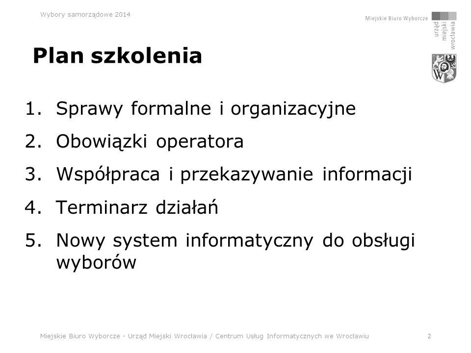 Miejskie Biuro Wyborcze - Urząd Miejski Wrocławia / Centrum Usług Informatycznych we Wrocławiu33 Wybory samorządowe 2014 Terminarz działań c.d.