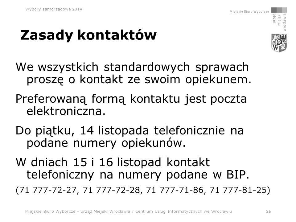 Miejskie Biuro Wyborcze - Urząd Miejski Wrocławia / Centrum Usług Informatycznych we Wrocławiu25 Wybory samorządowe 2014 Zasady kontaktów We wszystkich standardowych sprawach proszę o kontakt ze swoim opiekunem.