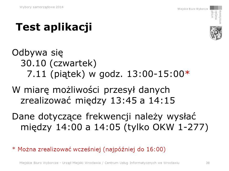 Miejskie Biuro Wyborcze - Urząd Miejski Wrocławia / Centrum Usług Informatycznych we Wrocławiu38 Wybory samorządowe 2014 Test aplikacji Odbywa się 30.10 (czwartek) 7.11 (piątek) w godz.