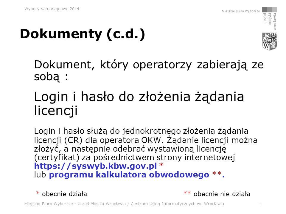 Miejskie Biuro Wyborcze - Urząd Miejski Wrocławia / Centrum Usług Informatycznych we Wrocławiu45 Wybory samorządowe 2014 Aplikacja wyborcza – NOWA !