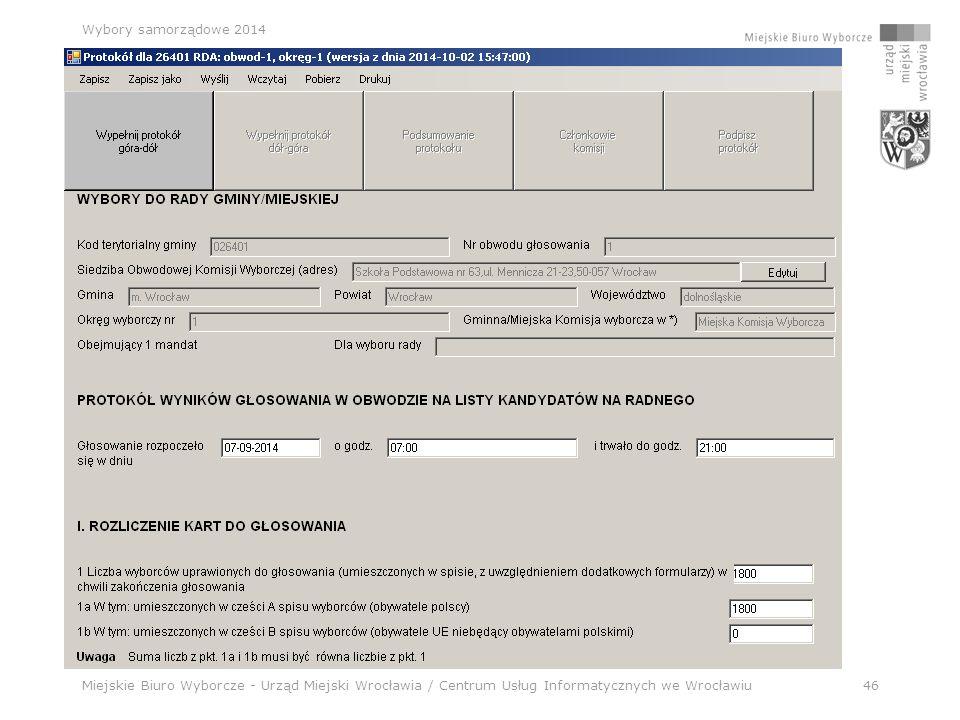 Miejskie Biuro Wyborcze - Urząd Miejski Wrocławia / Centrum Usług Informatycznych we Wrocławiu46 Wybory samorządowe 2014 Aplikacja wyborcza – NOWA !